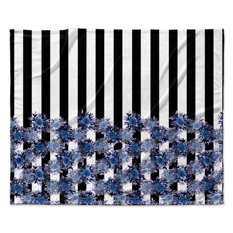 "Ebi Emporium ""STRIPES AND ROSES, INDIGO BLUE"" Blue,Black,Floral,Stripes,Mixed Media,Watercolor Fleece Throw Blanket"