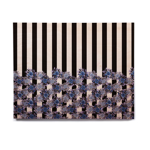 "Ebi Emporium ""STRIPES AND ROSES, INDIGO BLUE"" Blue,Black,Floral,Stripes,Mixed Media,Watercolor Birchwood Wall Art"