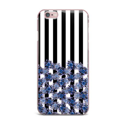 "Ebi Emporium ""STRIPES AND ROSES, INDIGO BLUE"" Blue,Black,Floral,Stripes,Mixed Media,Watercolor iPhone Case"