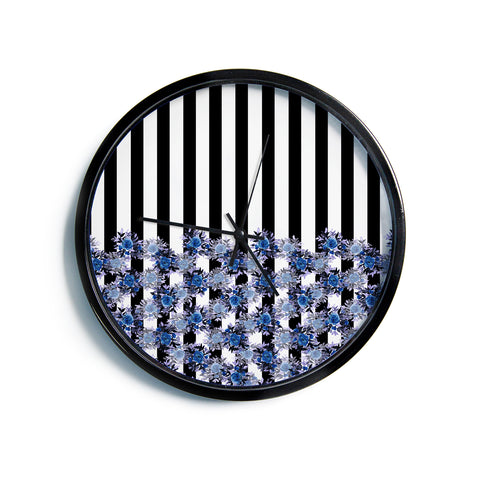 "Ebi Emporium ""STRIPES AND ROSES, INDIGO BLUE"" Blue,Black,Floral,Stripes,Mixed Media,Watercolor Modern Wall Clock"