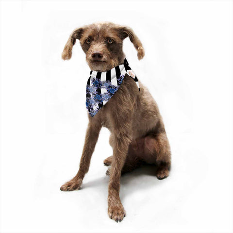 "Ebi Emporium ""STRIPES AND ROSES, INDIGO BLUE"" Blue,Black,Floral,Stripes,Mixed Media,Watercolor Pet Bandana"