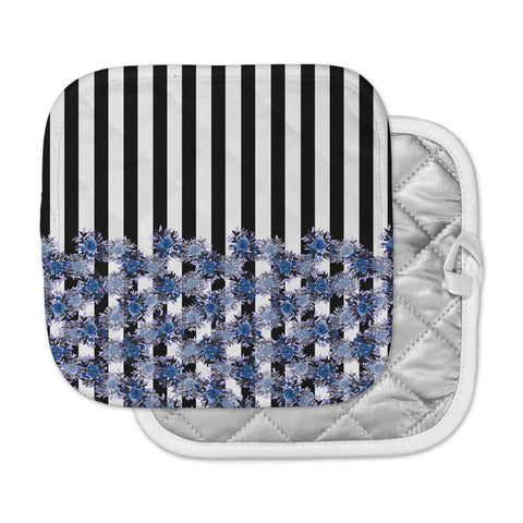 "Ebi Emporium ""STRIPES AND ROSES, INDIGO BLUE"" Blue,Black,Floral,Stripes,Mixed Media,Watercolor Pot Holder"