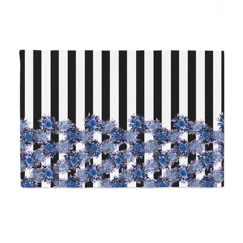 "Ebi Emporium ""STRIPES AND ROSES, INDIGO BLUE"" Blue,Black,Floral,Stripes,Mixed Media,Watercolor Place Mat"