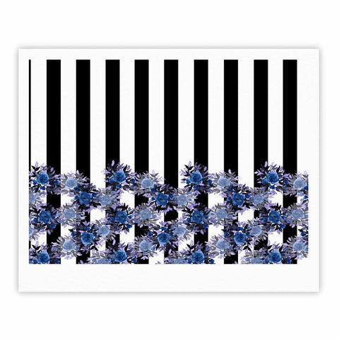 "Ebi Emporium ""STRIPES AND ROSES, INDIGO BLUE"" Blue,Black,Floral,Stripes,Mixed Media,Watercolor Fine Art Gallery Print"