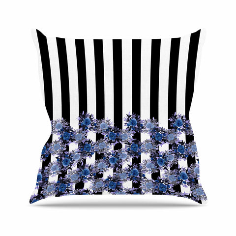 "Ebi Emporium ""STRIPES AND ROSES, INDIGO BLUE"" Blue,Black,Floral,Stripes,Mixed Media,Watercolor Outdoor Throw Pillow"