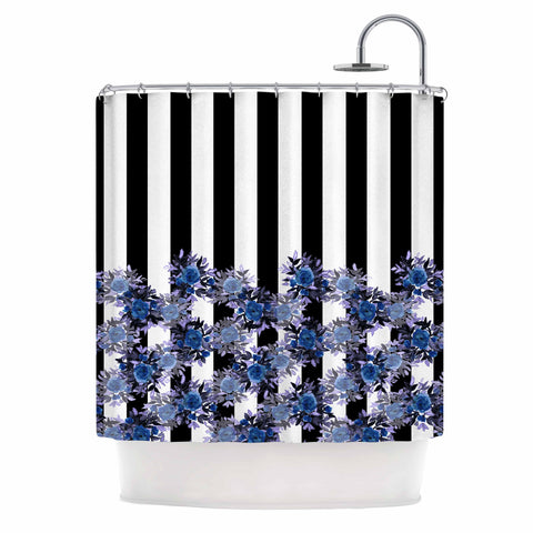"Ebi Emporium ""STRIPES AND ROSES, INDIGO BLUE"" Blue,Black,Floral,Stripes,Mixed Media,Watercolor Shower Curtain"