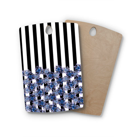 "Ebi Emporium ""STRIPES AND ROSES, INDIGO BLUE"" Blue,Black,Floral,Stripes,Mixed Media,Watercolor Rectangle Wooden Cutting Board"