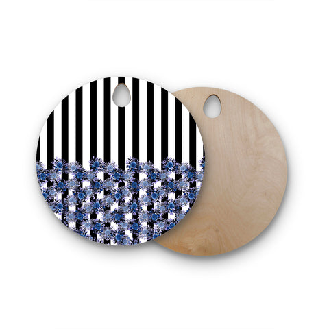 "Ebi Emporium ""STRIPES AND ROSES, INDIGO BLUE"" Blue,Black,Floral,Stripes,Mixed Media,Watercolor Round Wooden Cutting Board"