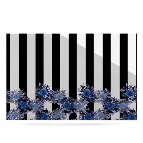 "Ebi Emporium ""STRIPES AND ROSES, INDIGO BLUE"" Blue,Black,Floral,Stripes,Mixed Media,Watercolor Luxe Rectangle Panel"