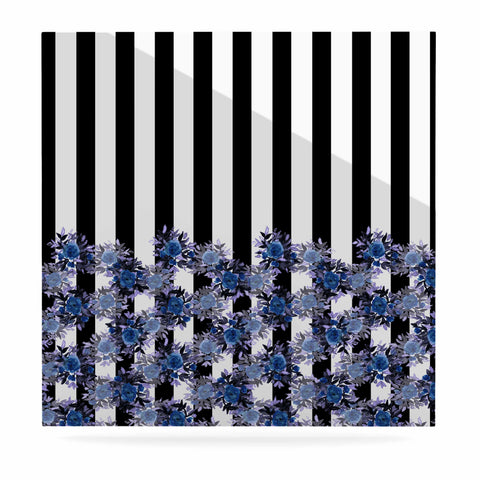 "Ebi Emporium ""STRIPES AND ROSES, INDIGO BLUE"" Blue,Black,Floral,Stripes,Mixed Media,Watercolor Luxe Square Panel"