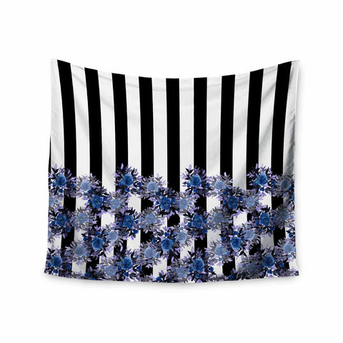 "Ebi Emporium ""STRIPES AND ROSES, INDIGO BLUE"" Blue,Black,Floral,Stripes,Mixed Media,Watercolor Wall Tapestry"