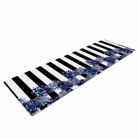 "Ebi Emporium ""STRIPES AND ROSES, INDIGO BLUE"" Blue,Black,Floral,Stripes,Mixed Media,Watercolor Yoga Mat"