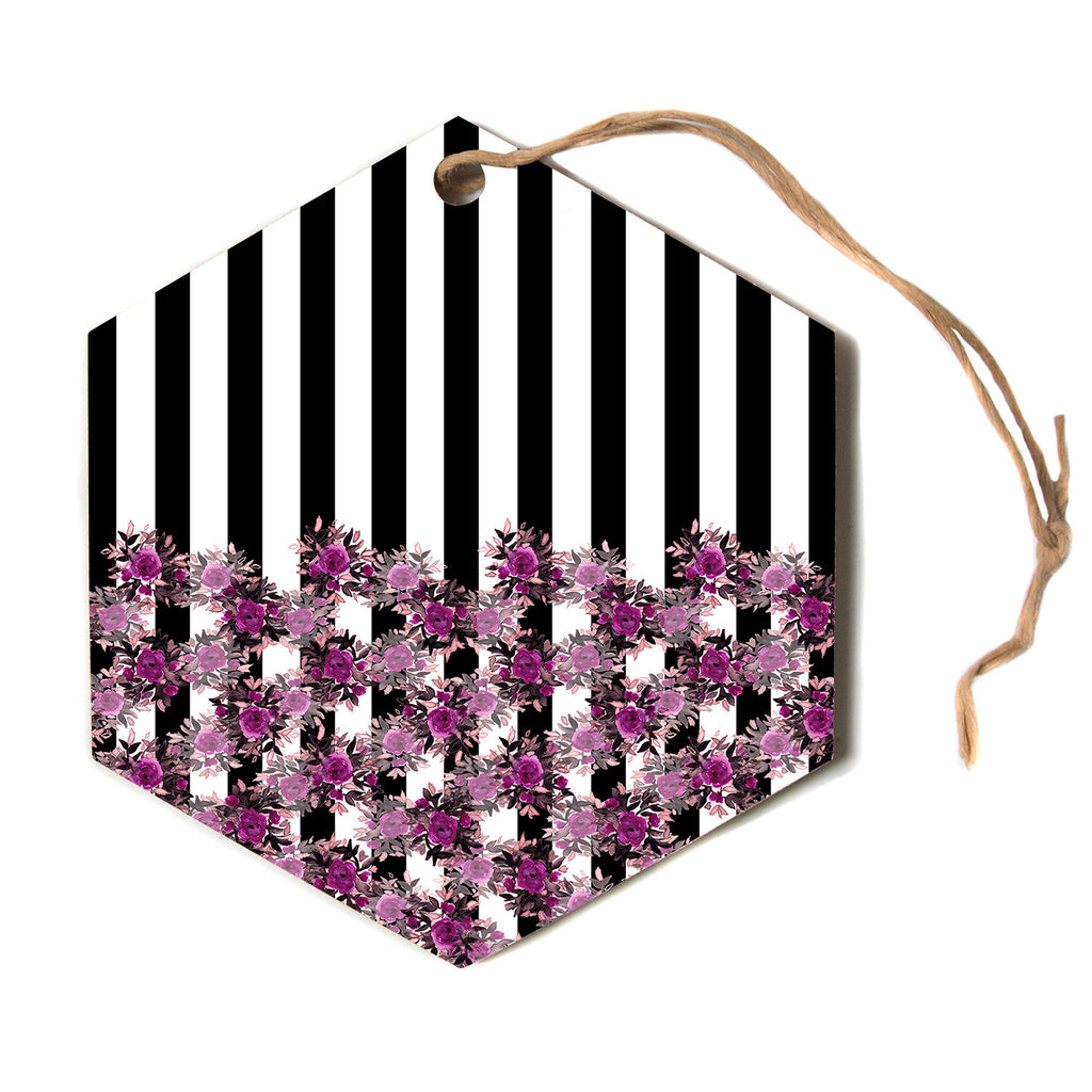 "Ebi Emporium ""STRIPES AND ROSES, FUCHSIA"" Purple,Black,Floral,Stripes,Mixed Media,Watercolor Hexagon Holiday Ornament"