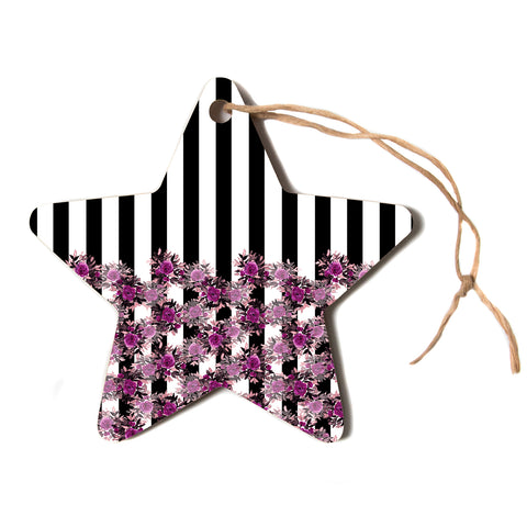 "Ebi Emporium ""STRIPES AND ROSES, FUCHSIA"" Purple,Black,Floral,Stripes,Mixed Media,Watercolor Star Holiday Ornament"