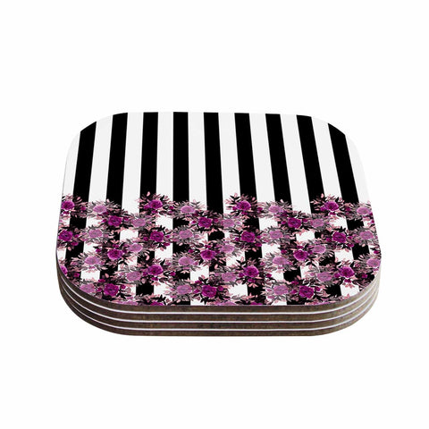 "Ebi Emporium ""STRIPES AND ROSES, FUCHSIA"" Purple,Black,Floral,Stripes,Mixed Media,Watercolor Coasters (Set of 4)"