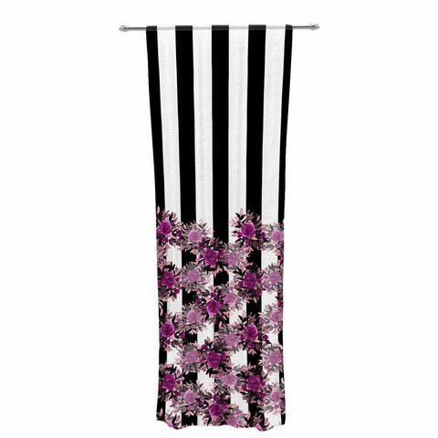 "Ebi Emporium ""STRIPES AND ROSES, FUCHSIA"" Purple,Black,Floral,Stripes,Mixed Media,Watercolor Decorative Sheer Curtain"