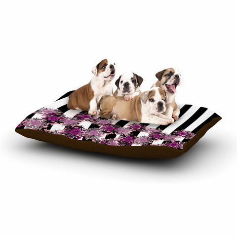 "Ebi Emporium ""STRIPES AND ROSES, FUCHSIA"" Purple,Black,Floral,Stripes,Mixed Media,Watercolor Dog Bed"
