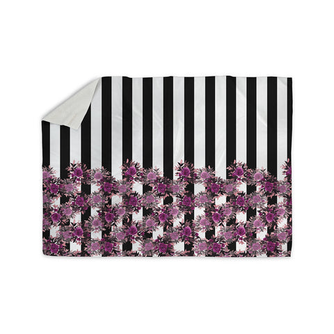 "Ebi Emporium ""STRIPES AND ROSES, FUCHSIA"" Purple,Black,Floral,Stripes,Mixed Media,Watercolor Sherpa Blanket"