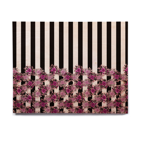 "Ebi Emporium ""STRIPES AND ROSES, FUCHSIA"" Purple,Black,Floral,Stripes,Mixed Media,Watercolor Birchwood Wall Art"