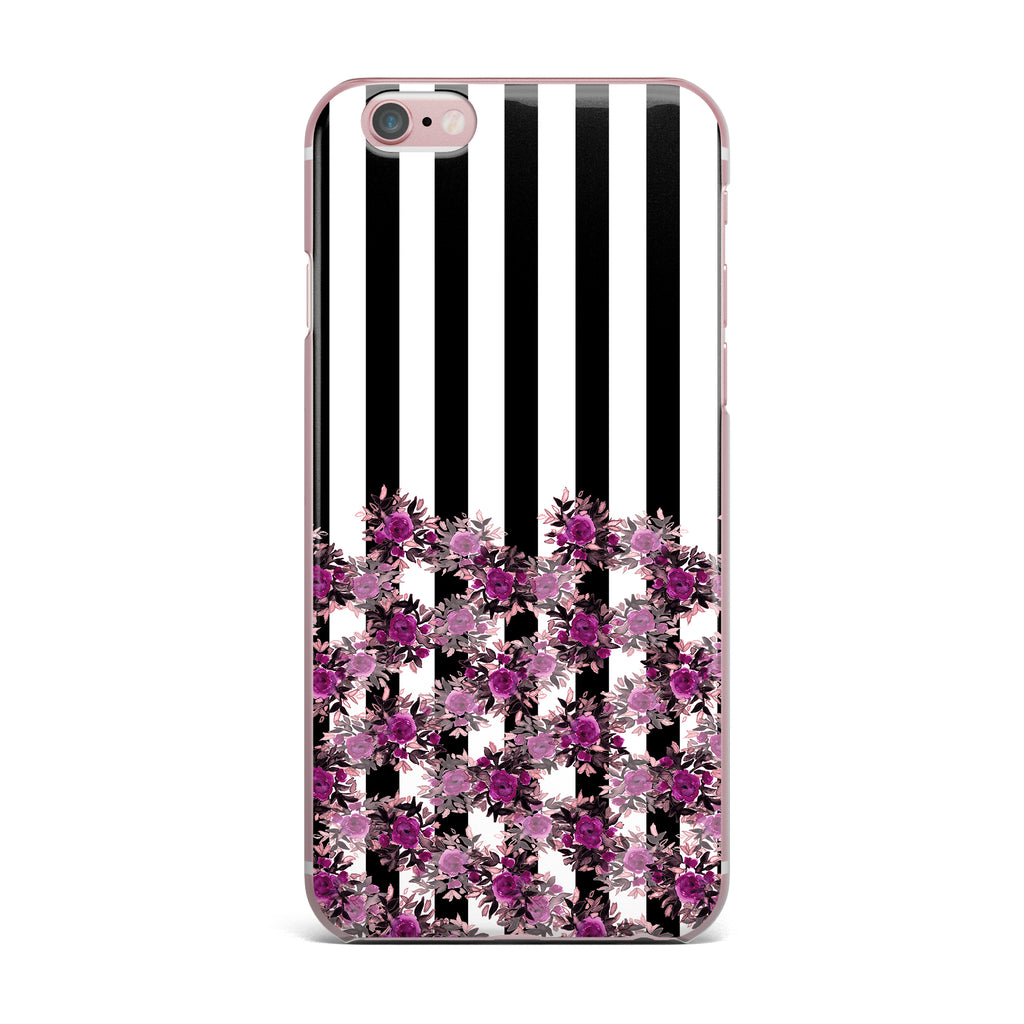 "Ebi Emporium ""STRIPES AND ROSES, FUCHSIA"" Purple,Black,Floral,Stripes,Mixed Media,Watercolor iPhone Case"