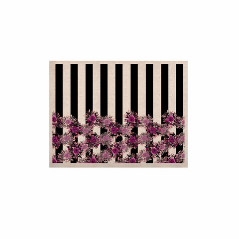 "Ebi Emporium ""STRIPES AND ROSES, FUCHSIA"" Purple,Black,Floral,Stripes,Mixed Media,Watercolor KESS Naturals Canvas (Frame not Included)"