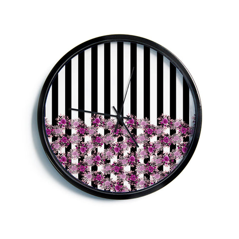"Ebi Emporium ""STRIPES AND ROSES, FUCHSIA"" Purple,Black,Floral,Stripes,Mixed Media,Watercolor Modern Wall Clock"