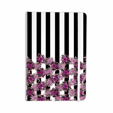 "Ebi Emporium ""STRIPES AND ROSES, FUCHSIA"" Purple,Black,Floral,Stripes,Mixed Media,Watercolor Everything Notebook"