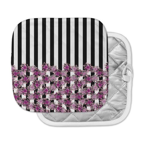 "Ebi Emporium ""STRIPES AND ROSES, FUCHSIA"" Purple,Black,Floral,Stripes,Mixed Media,Watercolor Pot Holder"