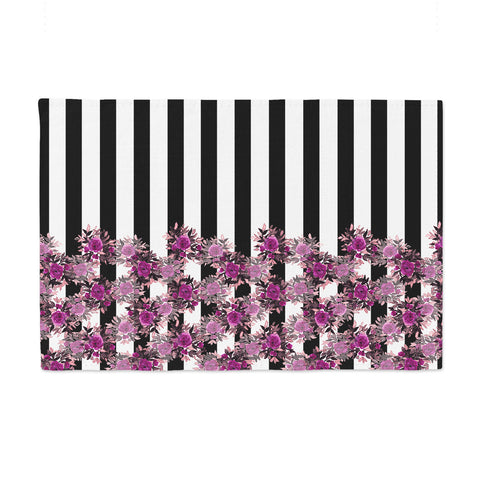"Ebi Emporium ""STRIPES AND ROSES, FUCHSIA"" Purple,Black,Floral,Stripes,Mixed Media,Watercolor Place Mat"