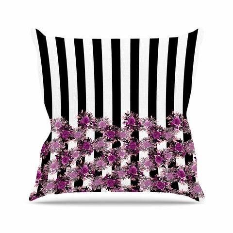 "Ebi Emporium ""STRIPES AND ROSES, FUCHSIA"" Purple,Black,Floral,Stripes,Mixed Media,Watercolor Outdoor Throw Pillow"
