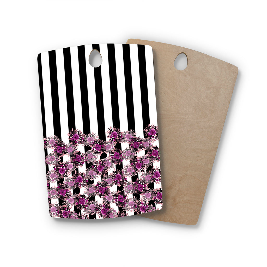 "Ebi Emporium ""STRIPES AND ROSES, FUCHSIA"" Purple,Black,Floral,Stripes,Mixed Media,Watercolor Rectangle Wooden Cutting Board"