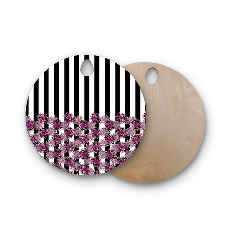 "Ebi Emporium ""STRIPES AND ROSES, FUCHSIA"" Purple,Black,Floral,Stripes,Mixed Media,Watercolor Round Wooden Cutting Board"