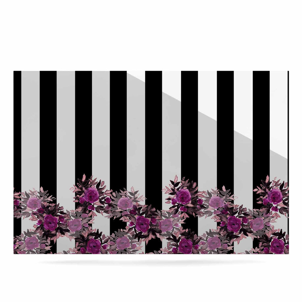 "Ebi Emporium ""STRIPES AND ROSES, FUCHSIA"" Purple,Black,Floral,Stripes,Mixed Media,Watercolor Luxe Rectangle Panel"