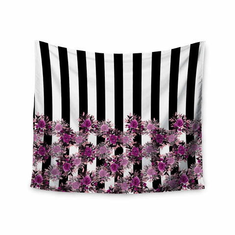 "Ebi Emporium ""STRIPES AND ROSES, FUCHSIA"" Purple,Black,Floral,Stripes,Mixed Media,Watercolor Wall Tapestry"
