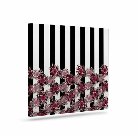 "Ebi Emporium ""STRIPES AND ROSES, PINK"" Pink,Black,Floral,Stripes,Mixed Media,Watercolor Art Canvas"