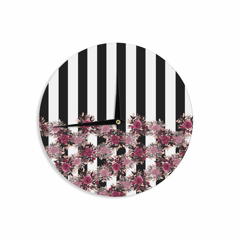 "Ebi Emporium ""STRIPES AND ROSES, PINK"" Pink,Black,Floral,Stripes,Mixed Media,Watercolor Wall Clock"