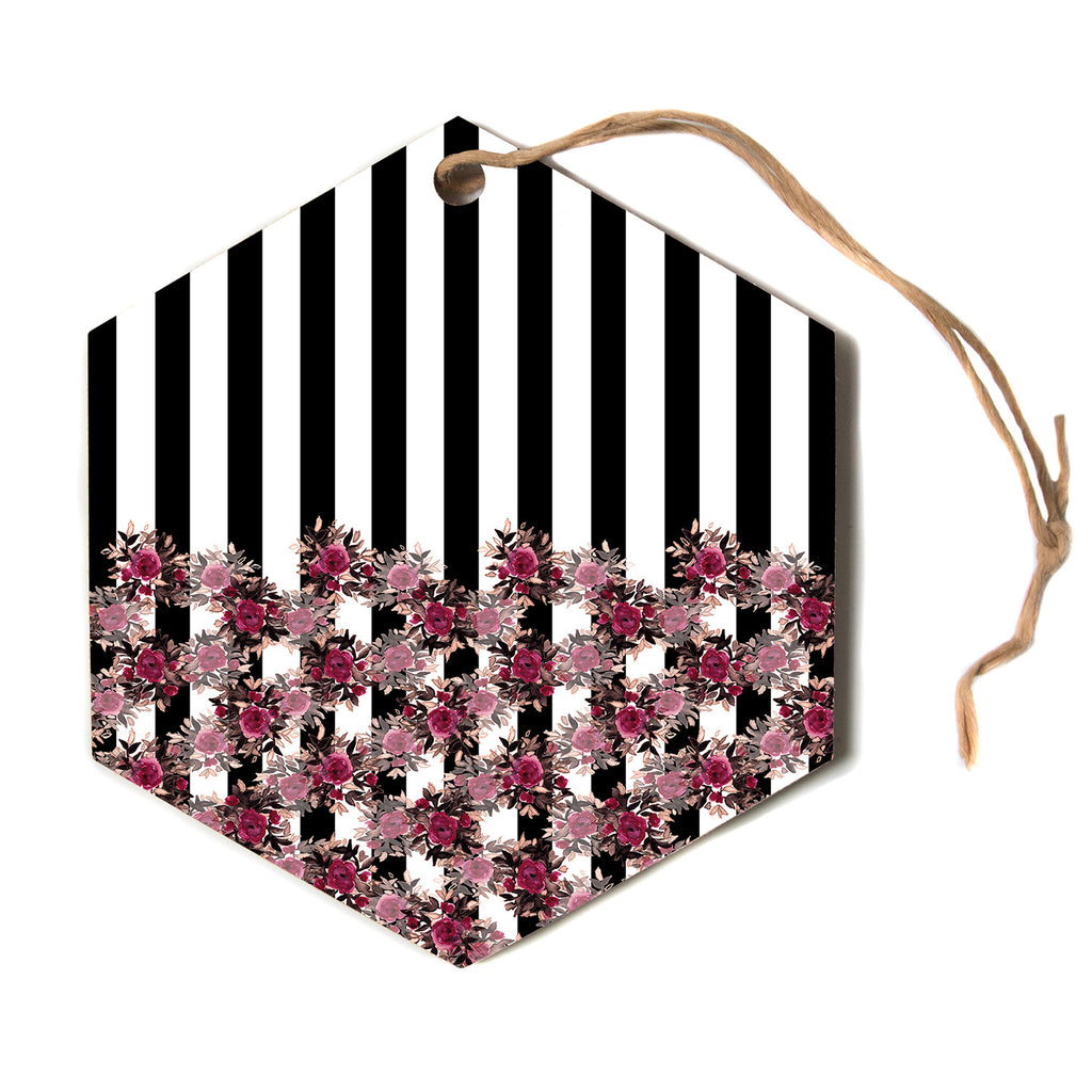 "Ebi Emporium ""STRIPES AND ROSES, PINK"" Pink,Black,Floral,Stripes,Mixed Media,Watercolor Hexagon Holiday Ornament"