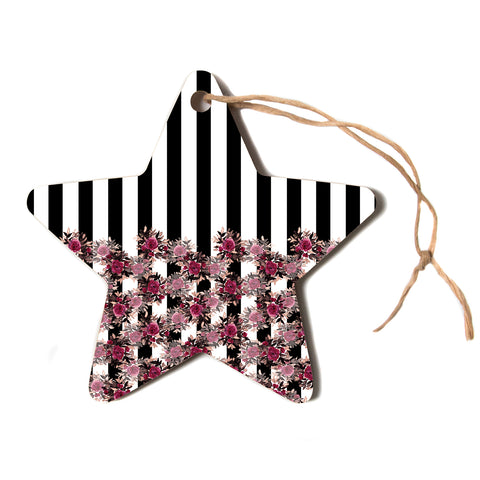 "Ebi Emporium ""STRIPES AND ROSES, PINK"" Pink,Black,Floral,Stripes,Mixed Media,Watercolor Star Holiday Ornament"