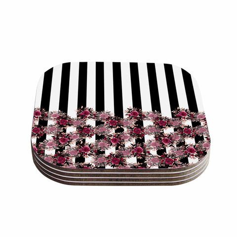 "Ebi Emporium ""STRIPES AND ROSES, PINK"" Pink,Black,Floral,Stripes,Mixed Media,Watercolor Coasters (Set of 4)"