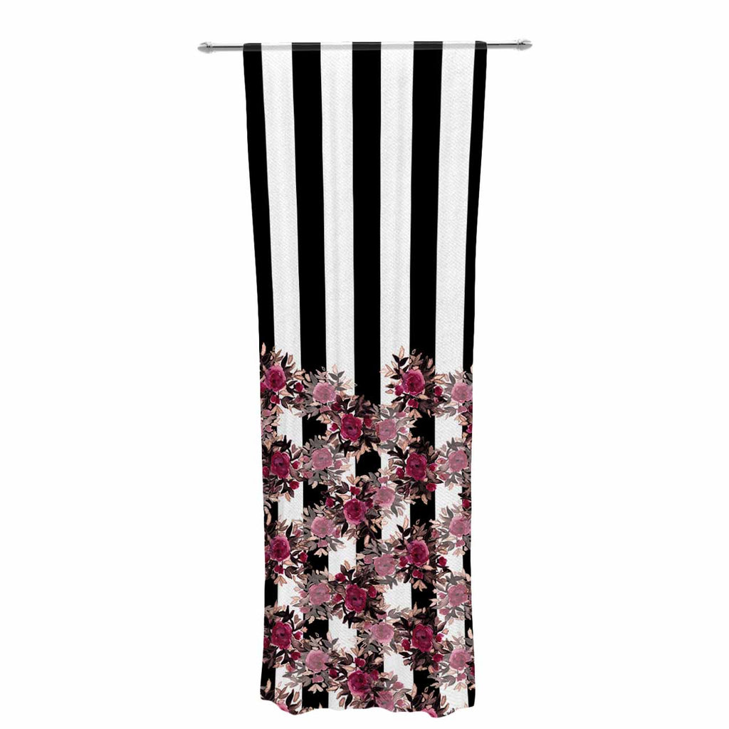 "Ebi Emporium ""STRIPES AND ROSES, PINK"" Pink,Black,Floral,Stripes,Mixed Media,Watercolor Decorative Sheer Curtain"