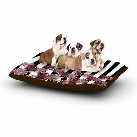 "Ebi Emporium ""STRIPES AND ROSES, PINK"" Pink,Black,Floral,Stripes,Mixed Media,Watercolor Dog Bed"