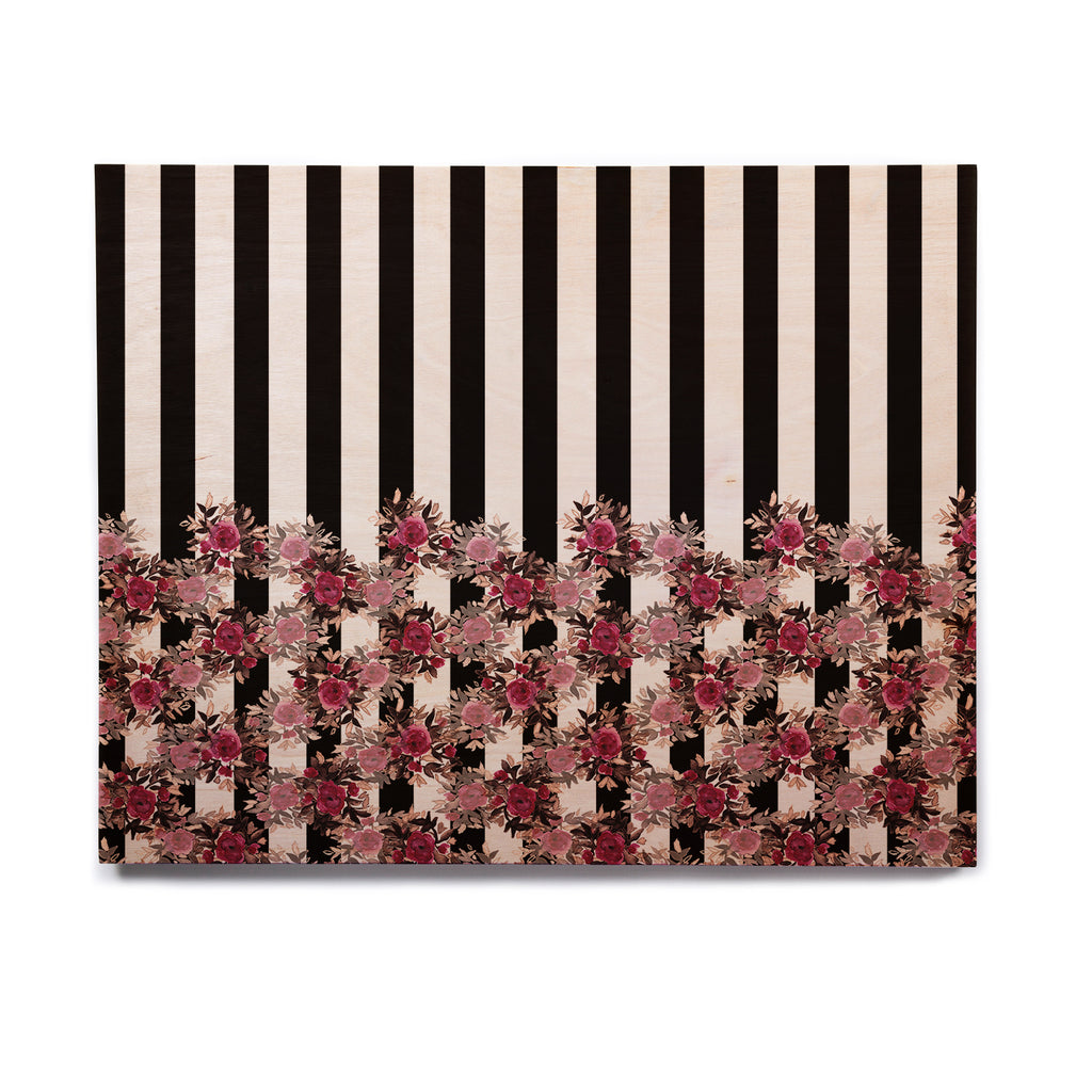 "Ebi Emporium ""STRIPES AND ROSES, PINK"" Pink,Black,Floral,Stripes,Mixed Media,Watercolor Birchwood Wall Art"