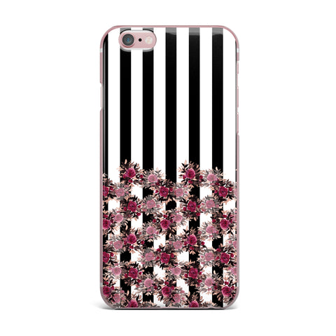 "Ebi Emporium ""STRIPES AND ROSES, PINK"" Pink,Black,Floral,Stripes,Mixed Media,Watercolor iPhone Case"