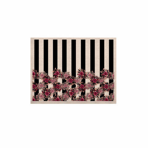 "Ebi Emporium ""STRIPES AND ROSES, PINK"" Pink,Black,Floral,Stripes,Mixed Media,Watercolor KESS Naturals Canvas (Frame not Included)"