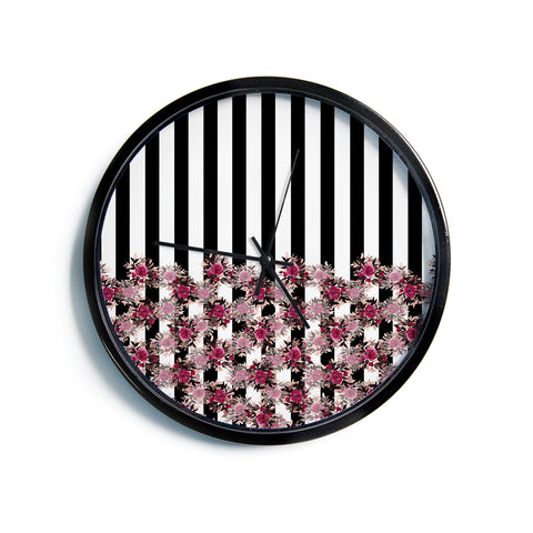 "Ebi Emporium ""STRIPES AND ROSES, PINK"" Pink,Black,Floral,Stripes,Mixed Media,Watercolor Modern Wall Clock"