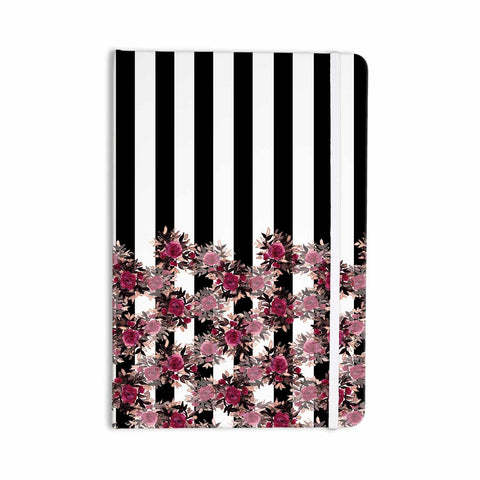 "Ebi Emporium ""STRIPES AND ROSES, PINK"" Pink,Black,Floral,Stripes,Mixed Media,Watercolor Everything Notebook"