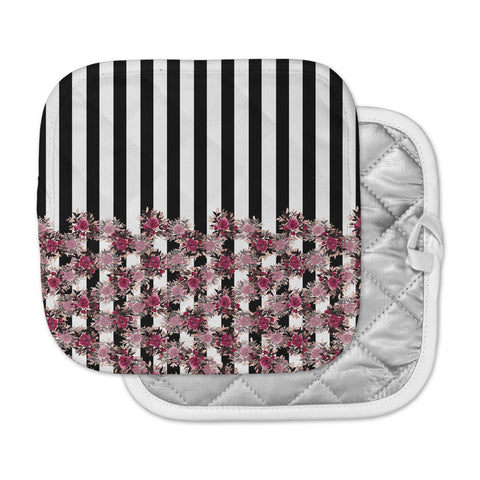 "Ebi Emporium ""STRIPES AND ROSES, PINK"" Pink,Black,Floral,Stripes,Mixed Media,Watercolor Pot Holder"