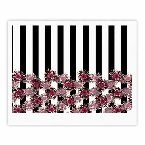"Ebi Emporium ""STRIPES AND ROSES, PINK"" Pink,Black,Floral,Stripes,Mixed Media,Watercolor Fine Art Gallery Print"