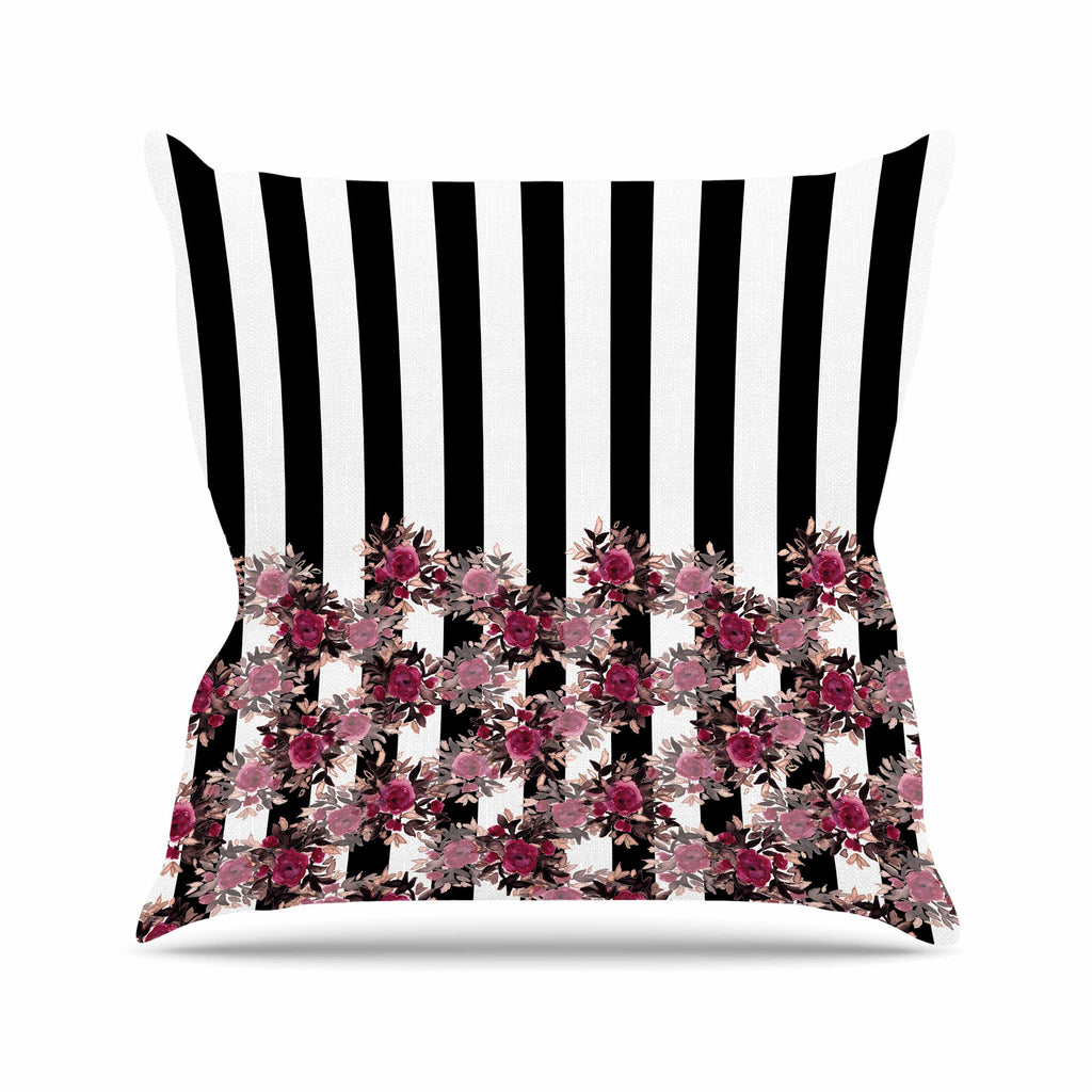 "Ebi Emporium ""STRIPES AND ROSES, PINK"" Pink,Black,Floral,Stripes,Mixed Media,Watercolor Outdoor Throw Pillow"