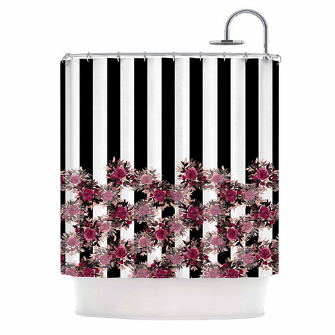 "Ebi Emporium ""STRIPES AND ROSES, PINK"" Pink,Black,Floral,Stripes,Mixed Media,Watercolor Shower Curtain"